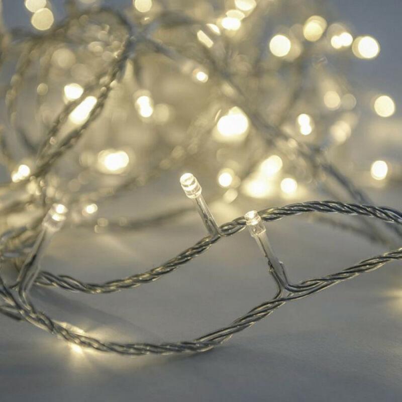 Dekortrend toldható LED fényfüzér 4,0m 50 db MELEG FEHÉR LED-del, átlátszó kábellel