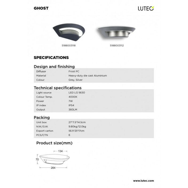 Lutec GHOST 5188003118 kültéri fali led lámpa sötétszürke alumínium LG 5630 LED 1 db 360 lm 4000 K IP54 A+