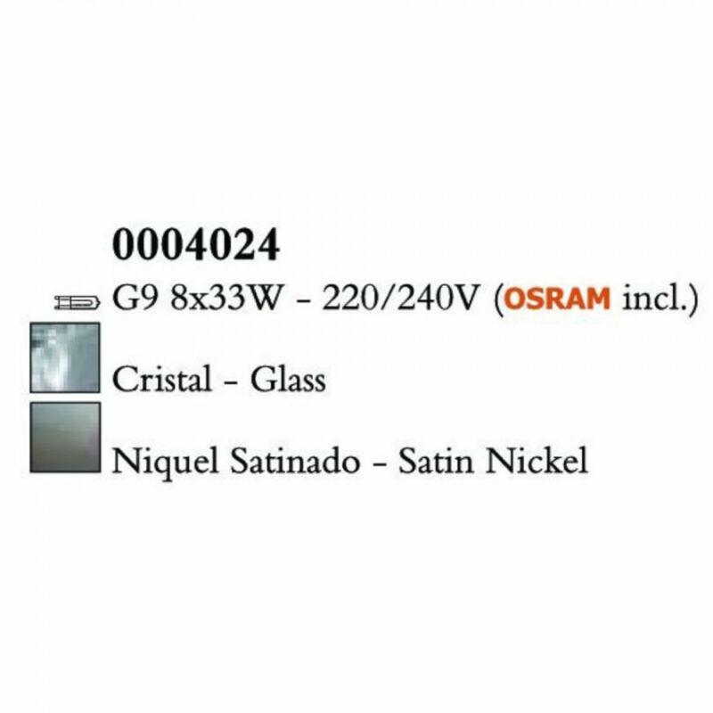 Mantra CUADRAX SN 0004024 mennyezeti lámpa  szatinált nikkel   8 x max. 8,50 W LED G9