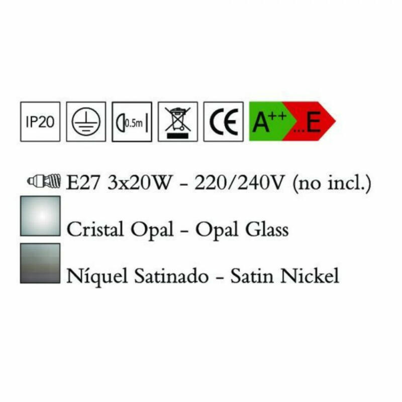 Mantra ZACK 0771 többágú függeszték szatinált nikkel fém 3*E27 max20W E27 3 db IP20