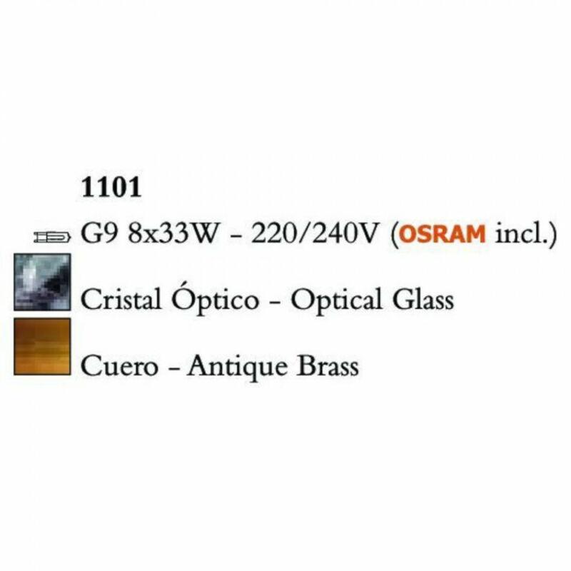 Mantra CUADRAX 1101 mennyezeti lámpa sárgaréz fém 8xG9 max. 33 W G9 8 db IP20