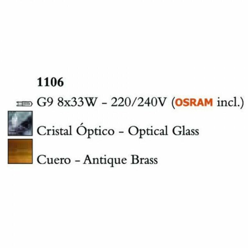 Mantra CUADRAX 1106 többágú függeszték  sárgaréz   fém   8xG9 max. 33 W   IP20