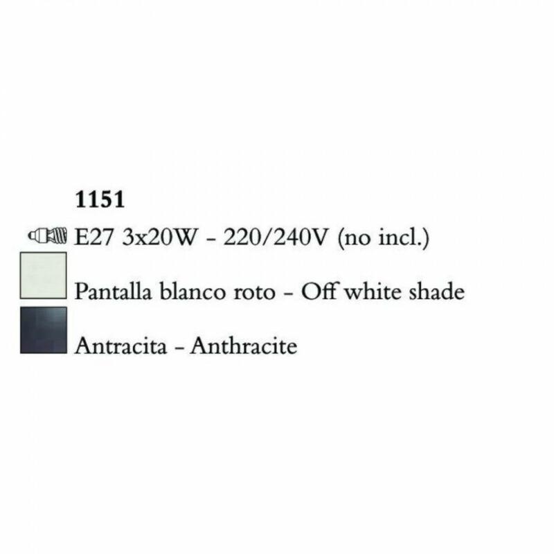 Mantra EVE 1151 csillárok nappaliba antracit fém 3xE27 max 20W E27 3 db IP20