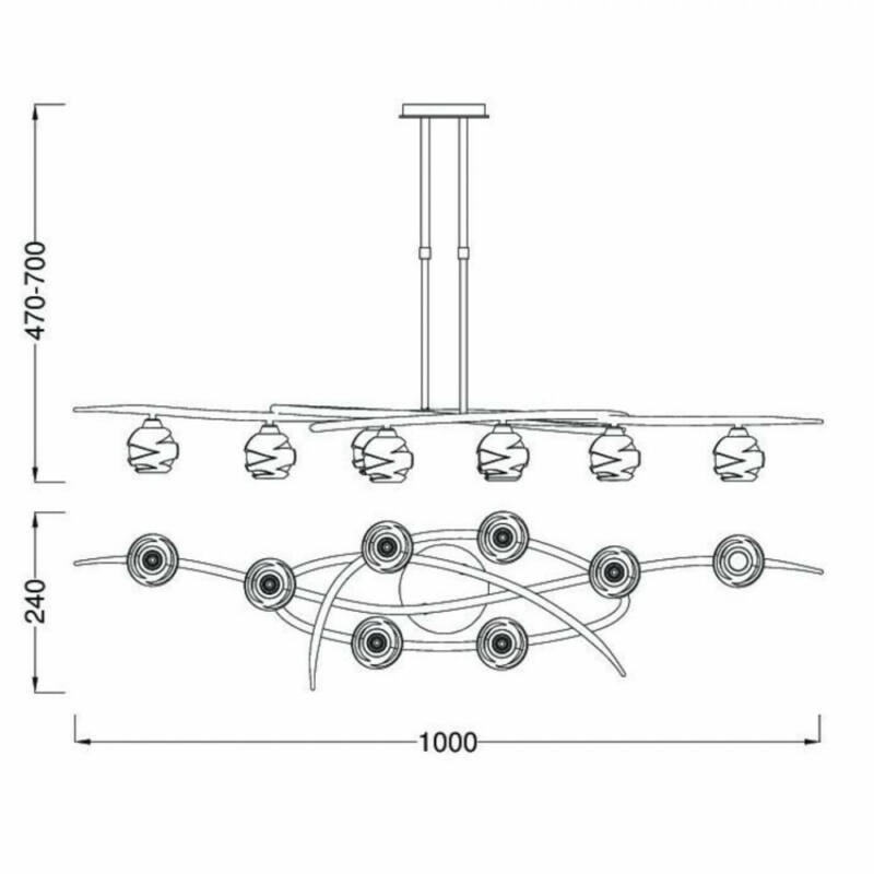 Mantra LOOP 1810 többágú függeszték szatinált nikkel fém 8x G9 max. 33W G9 8 db