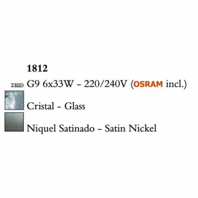 Mantra LOOP 1812 mennyezeti lámpa szatinált nikkel fém 6x G9 max. 33W G9 6 db