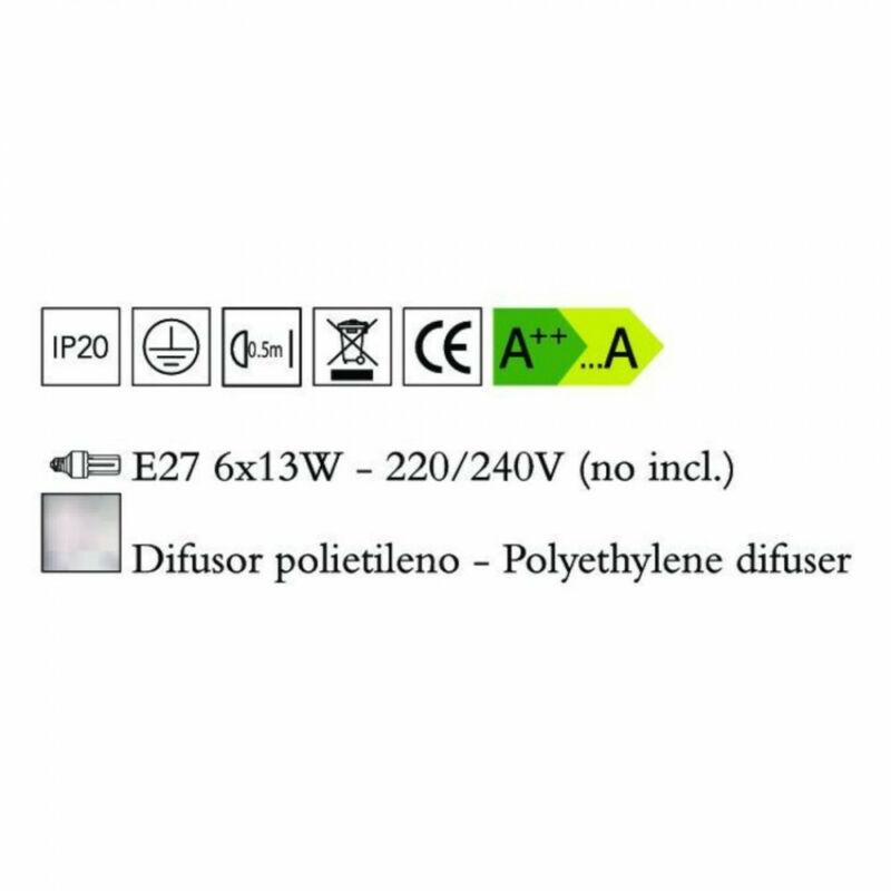 Mantra EOS 1881 mennyezeti lámpa opál műanyag 6xE27 max. 13 W E27 6 db IP44