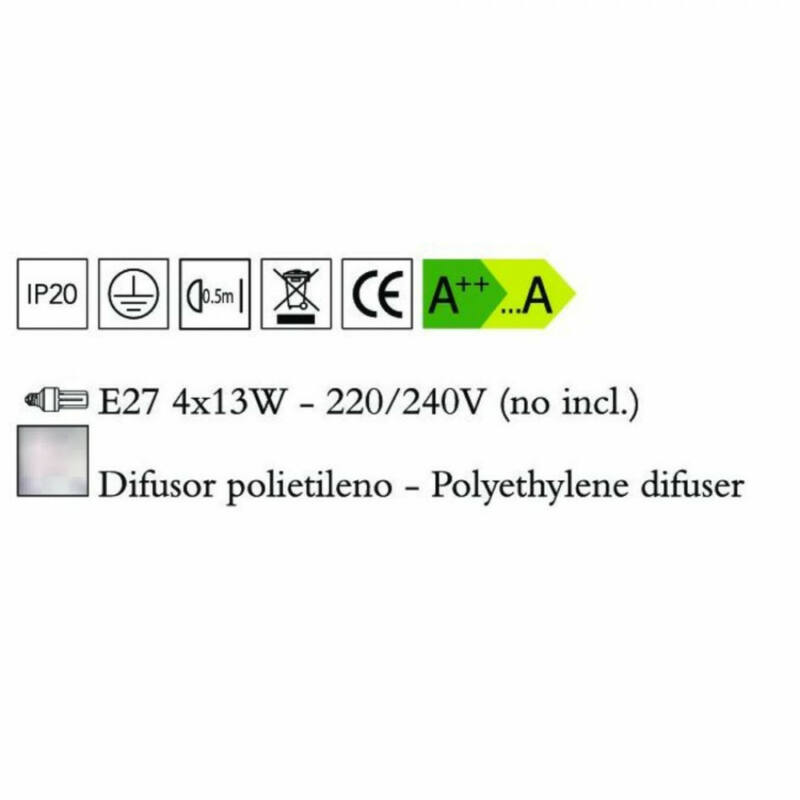 Mantra EOS 1882 mennyezeti lámpa opál műanyag 4xE27 max. 13 W E27 4 db IP44