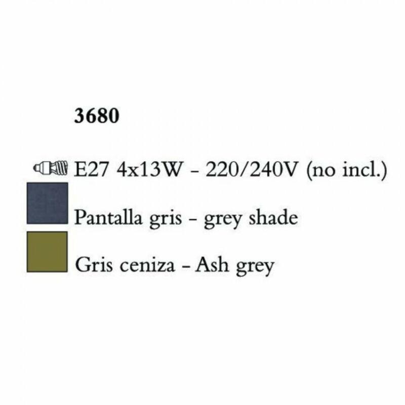 Mantra LUA 3680 többágú függeszték sötétszürke fém 4xE27 max. 13W E27 4 db