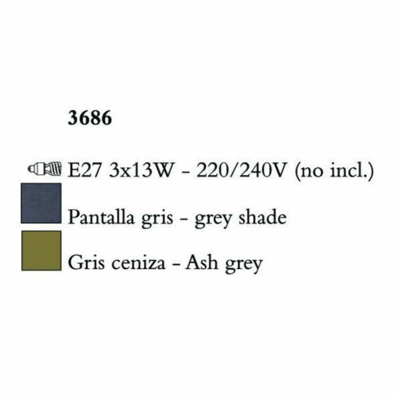 Mantra LUA 3686 csillárok nappaliba sötétszürke fém 3xE27 max. 13W E27 3 db