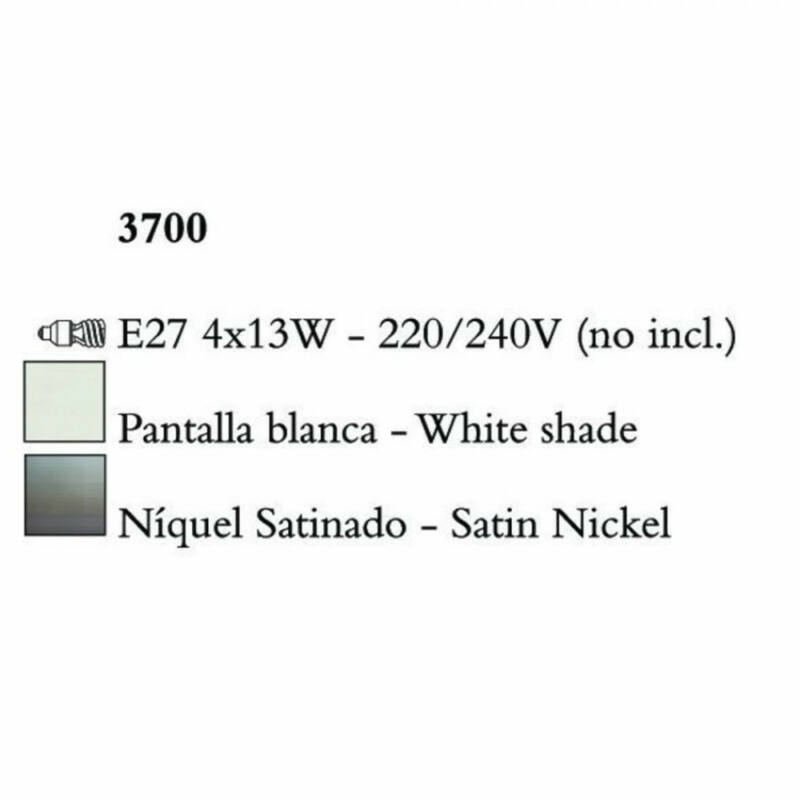 Mantra LUA 3700 többágú függeszték szatinált nikkel fém 4xE27 max. 13W E27 4 db
