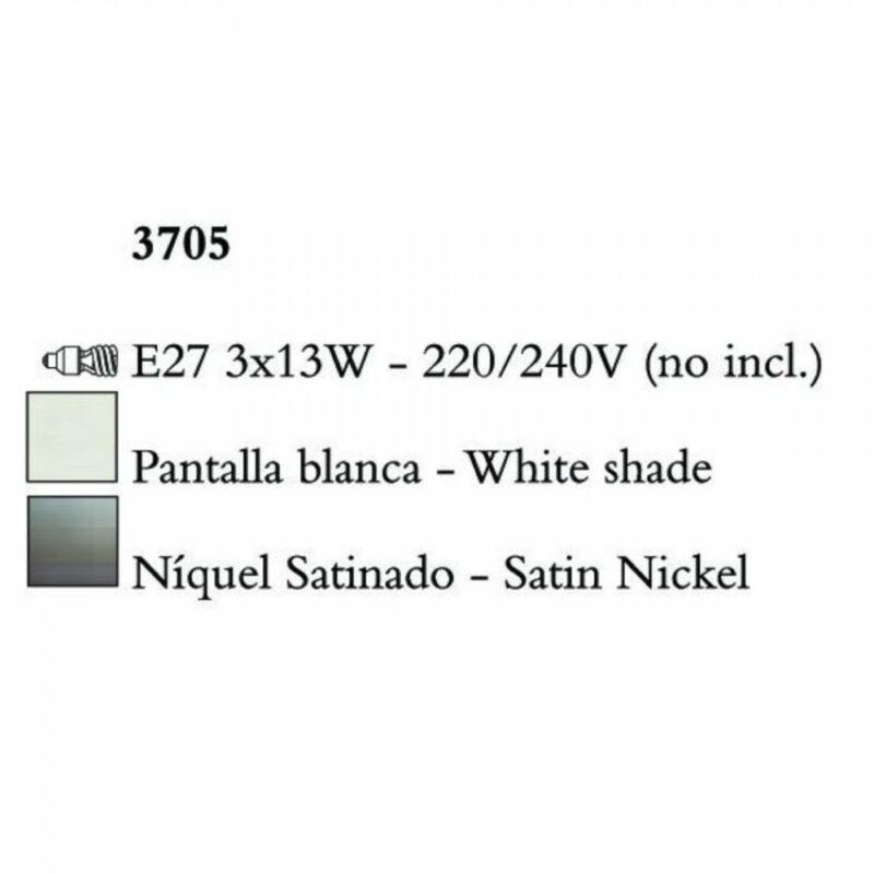 Mantra LUA 3705 mennyezeti lámpa szatinált nikkel fém 3xE27 max. 13W E27 3 db