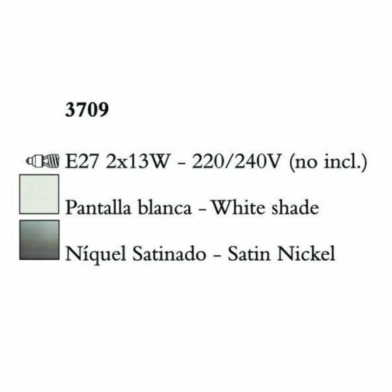 Mantra LUA 3709 állólámpa szatinált nikkel fém 2xE27 max. 13W E27 2 db