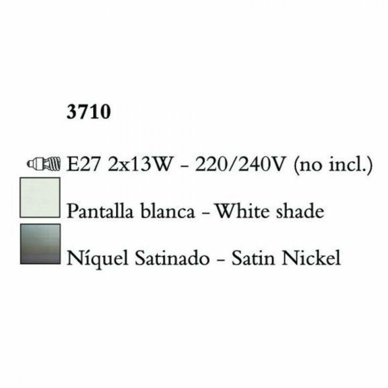 Mantra LUA 3710 egyágú függeszték szatinált nikkel fém 2xE27 max. 13W E27 2 db