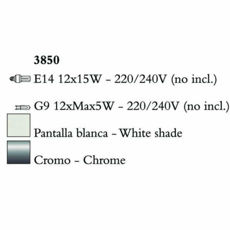 Mantra TIFFANY 3850 csillárok nappaliba króm fém 12xE14 max. 15W;12xG9 max. 33W E14 24 db