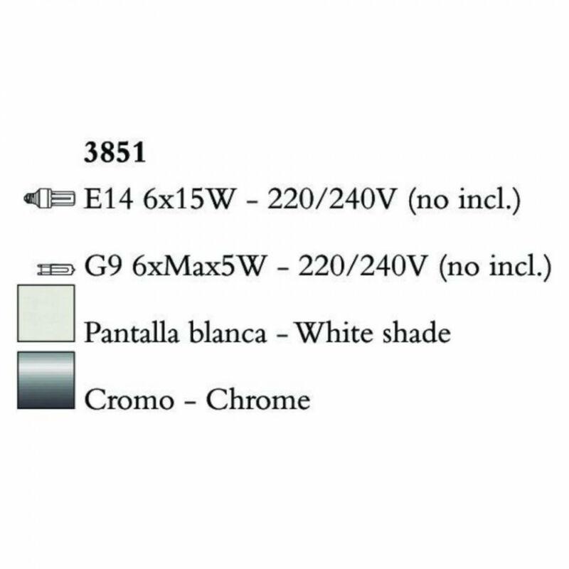 Mantra TIFFANY 3851 csillárok nappaliba króm fém 6xE14 max. 15W;6xG9 max. 33W E14 12 db
