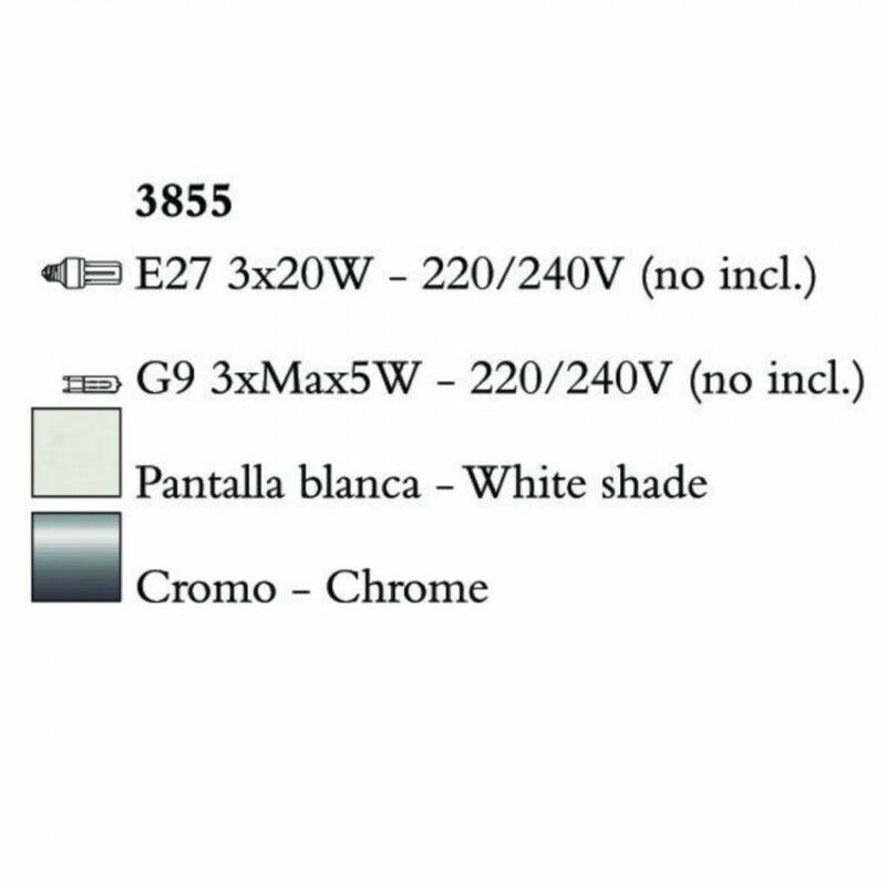 Mantra TIFFANY 3855 többágú függeszték króm fém 3xE27 max. 20W;3xG9 max. 33W E27 6 db
