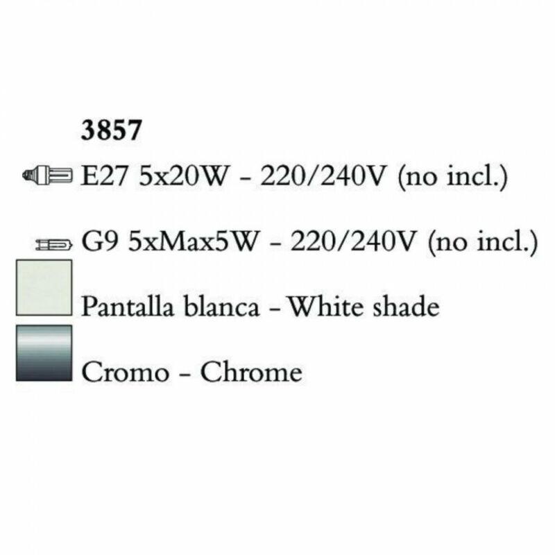 Mantra TIFFANY 3857 többágú függeszték króm fém 5xE27 max. 20W;5xG9 max. 33W E27 10 db