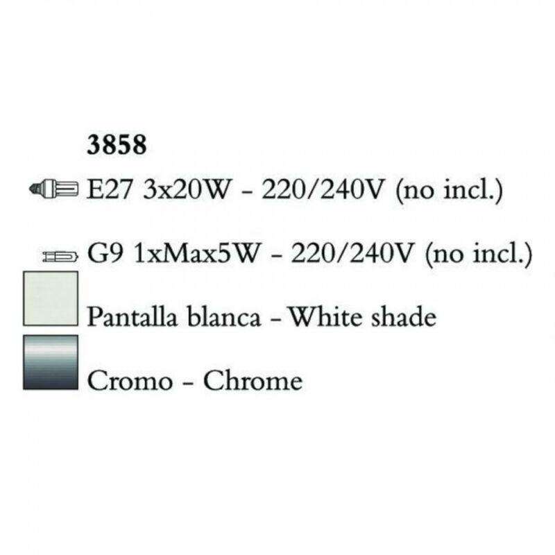 Mantra TIFFANY 3858 csillárok nappaliba króm fém 3xE27 max. 20W;1xG9 max. 33W E27 4 db