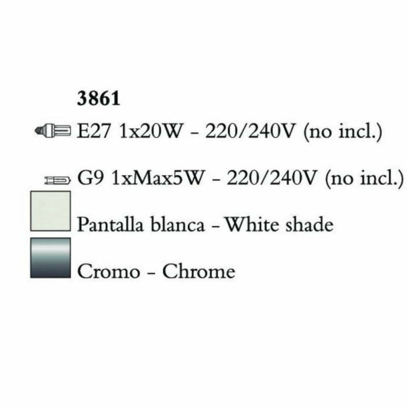 Mantra TIFFANY 3861 egyágú függeszték króm fém 1xE27 max. 20W;1xG9 max. 33W E27 2 db