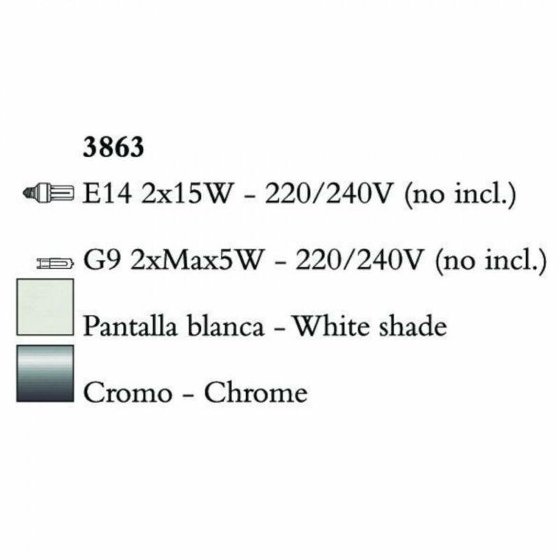 Mantra TIFFANY 3863 falikar króm fém 2xE14 max. 20W;2xG9 max. 33W E14 4 db