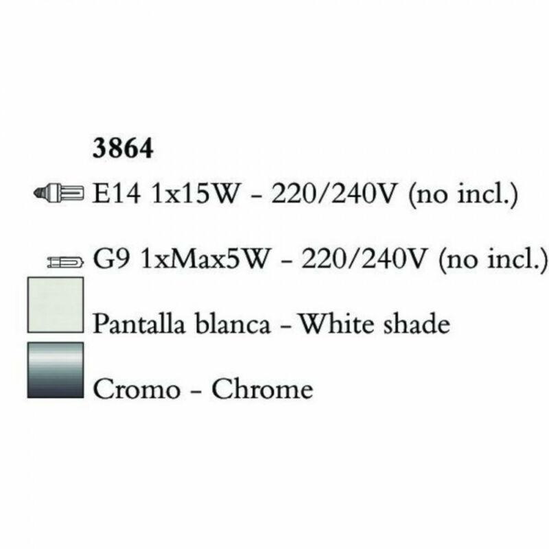 Mantra TIFFANY 3864 falikar króm fém 1xE14 max. 53W;1xG9 max. 33W E14 2 db