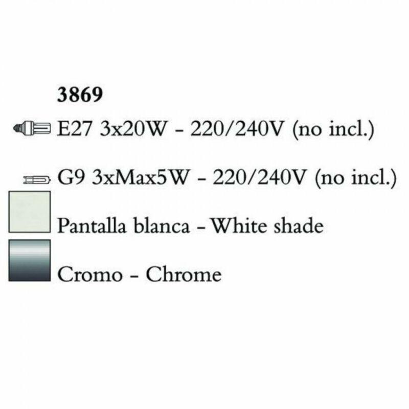 Mantra TIFFANY 3869 állólámpa króm fém 3xE27 max. 20W;3xG9 max. 33W E27 6 db