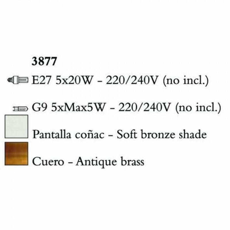 Mantra TIFFANY 3877 többágú függeszték  antik bronz   fém   5xE27 max. 20W;5xG9 max. 33W