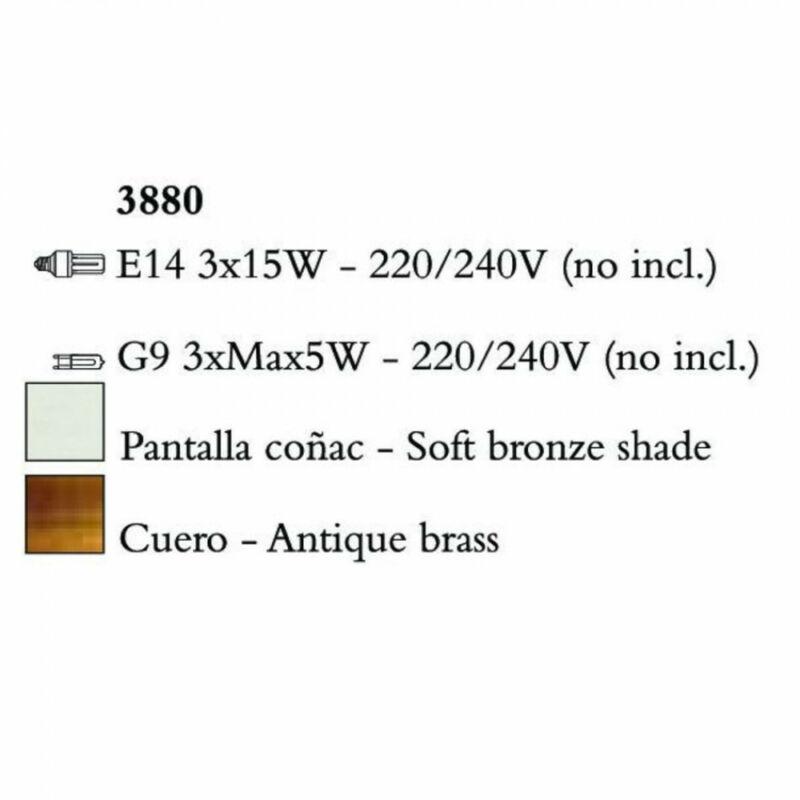 Mantra TIFFANY 3880 egyágú függeszték antik bronz fém 3xE14 max. 15W;3xG9 max. 33W E14 6 db