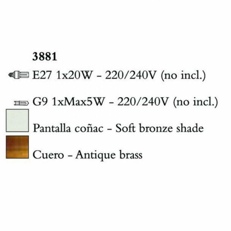 Mantra TIFFANY 3881 egyágú függeszték antik bronz fém 1xE27 max. 20W;1xG9 max. 33W E27 2 db