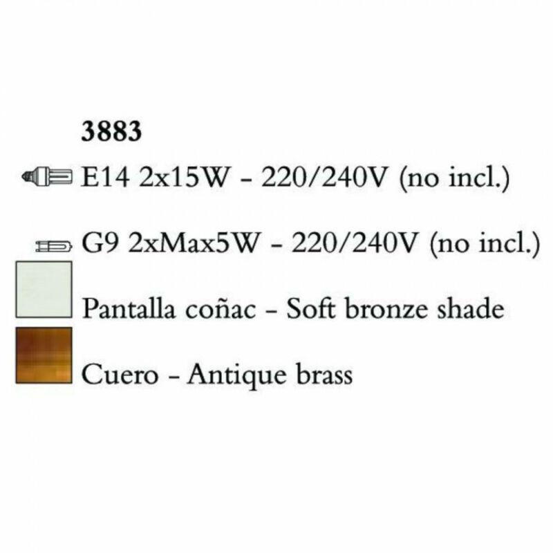 Mantra TIFFANY 3883 falikar antik bronz fém 2xE14 max. 20W;2xG9 max. 33W E14 4 db