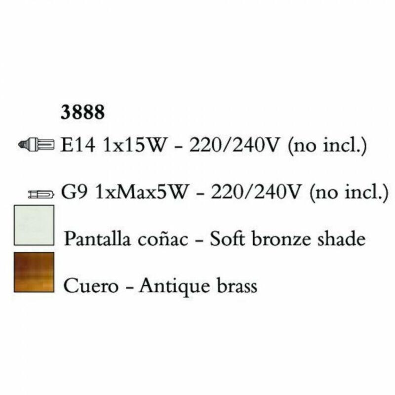 Mantra TIFFANY 3888 asztali lámpa antik bronz fém 1xE14 max. 50W;1xG9 max. 33W E14 2 db