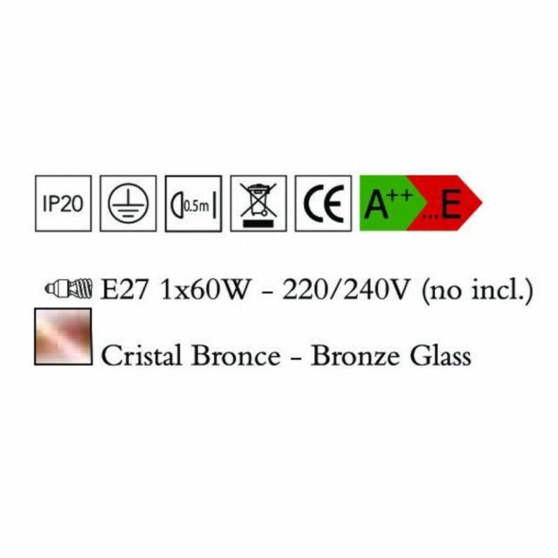 Mantra CRYSTAL BRONCE 4615 modern függeszték vörösréz üveg 1xE27 max. 60W E27 1 db