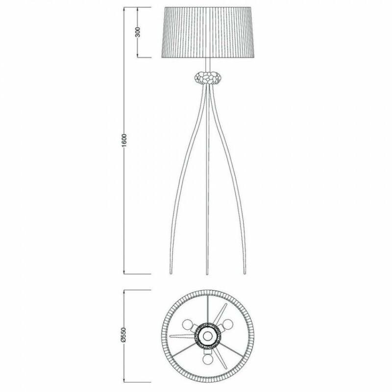 Mantra LOEWE CUERO 4738 állólámpa antik réz fém 3xE27 max. 23W E27 3 db IP20
