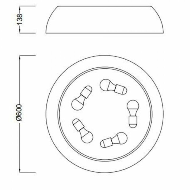 Mantra Argenta 4846E mennyezeti lámpa  fehér   5 x E27 max. 13W   IP20