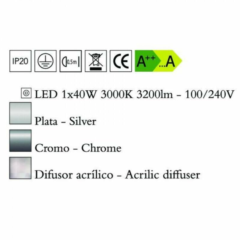Mantra NUR 4980 mennyezeti lámpa króm fém 1xLED max. 40W LED 1 db 3200 lm 3000 K IP20