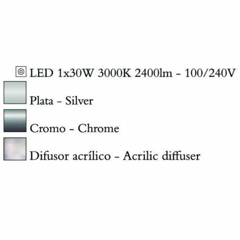 Mantra NUR 4982 mennyezeti lámpa króm fém 1xLED max. 30W LED 1 db 2400 lm 3000 K IP20