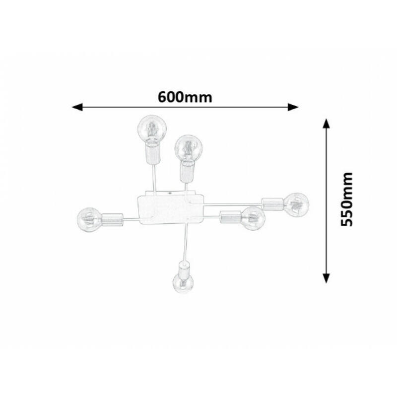 Rábalux Lanny 2103 mennyezeti lámpa  fekete   fém   E27 6x MAX 15W   IP20