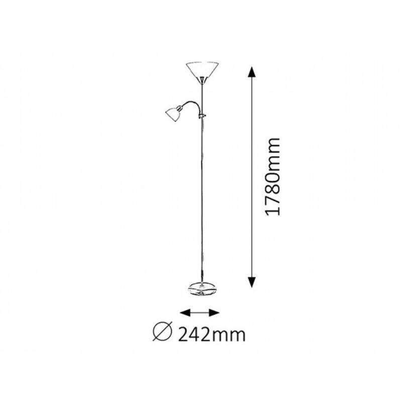 Rábalux Action 4028 állólámpa olvasókarral ezüst fém E27 1x MAX 100 + E14 1x MAX 25 1xE14 + 1xE27 2 db IP20