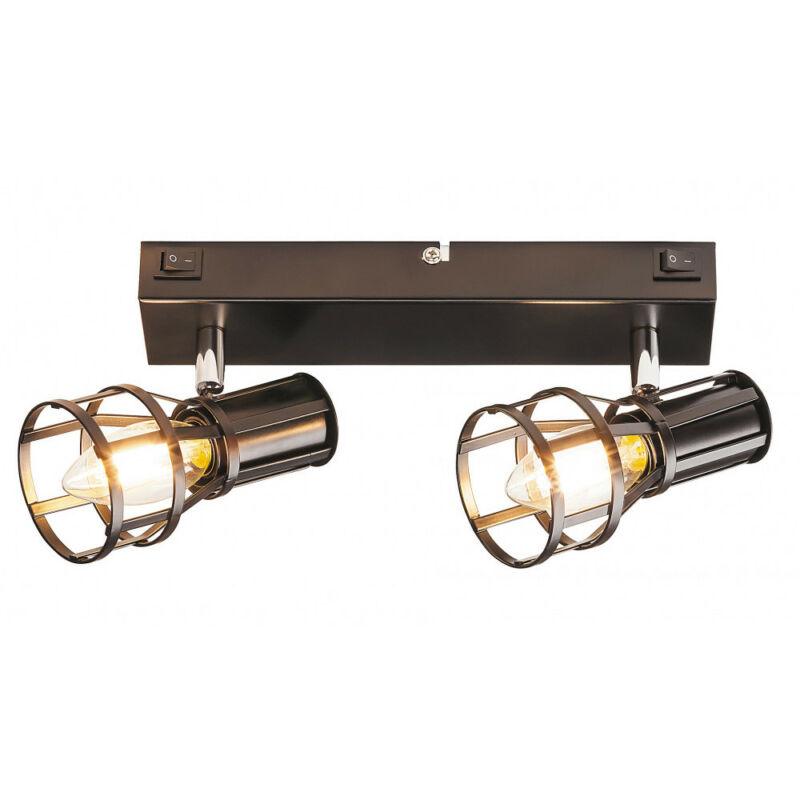 Rábalux Aria 5959 fali lámpa kapcsolóval matt fekete fém E14 2x MAX 15 E14 2 db IP20