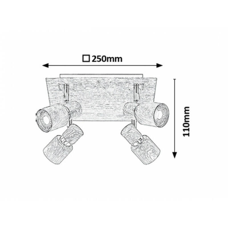 Rábalux Merkur 6008 mennyezeti spot lámpa wenge fém GU10 4x MAX 50 GU10 4 db IP20