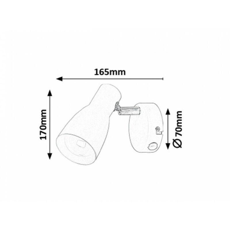 Rábalux Ebony 6025 fali lámpa kapcsolóval fehér fém E27 1x MAX 20 E27 1 db IP20