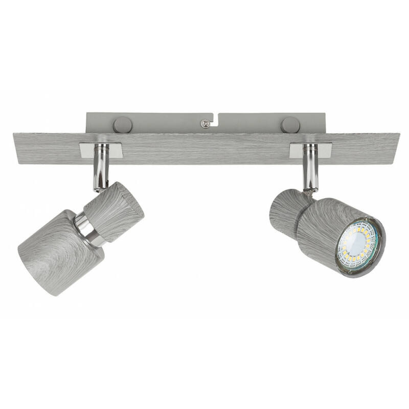 Rábalux Merkur 6126 fali lámpa kapcsolóval ezüst tölgy fém GU10 2x MAX 50 GU10 2 db IP20