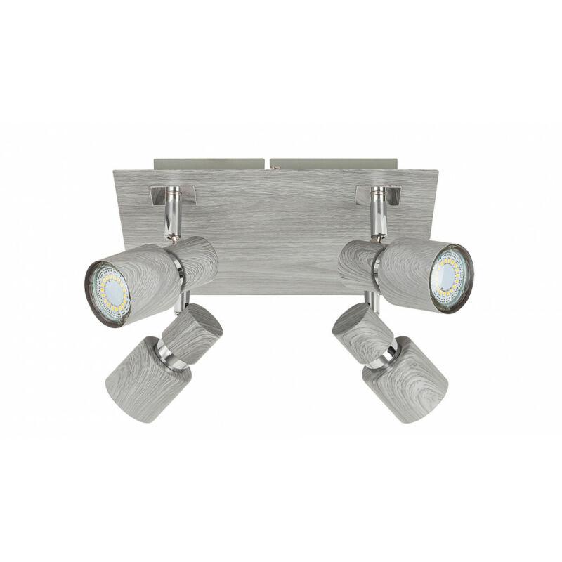 Rábalux Merkur 6128 mennyezeti spot lámpa ezüst tölgy fém GU10 4x MAX 50 GU10 4 db IP20