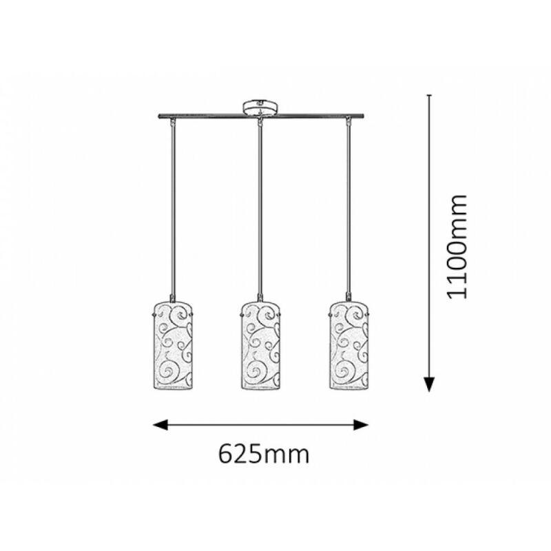 Rábalux Harmony Lux 6392 étkező lámpa szatin króm fém E27 3x MAX 60 E27 3 db IP20