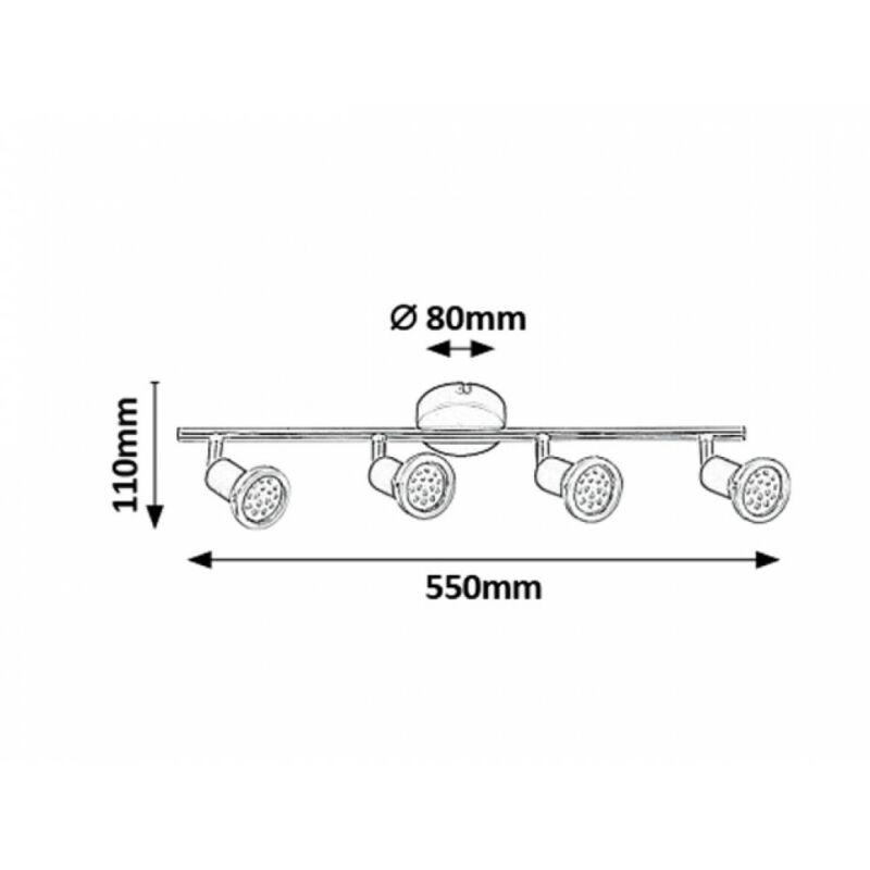 Rábalux Valentine 6849 mennyezeti spot lámpa matt fekete fém GU10 4x MAX 50 GU10 4 db 880 lm 3000 K IP20 A+