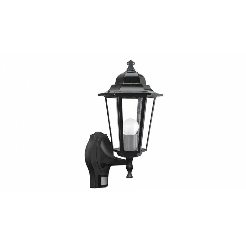 Rábalux Velence 8217 mozgásérzékelős fali lámpa fekete fém E27 1x MAX 60 E27 1 db IP43