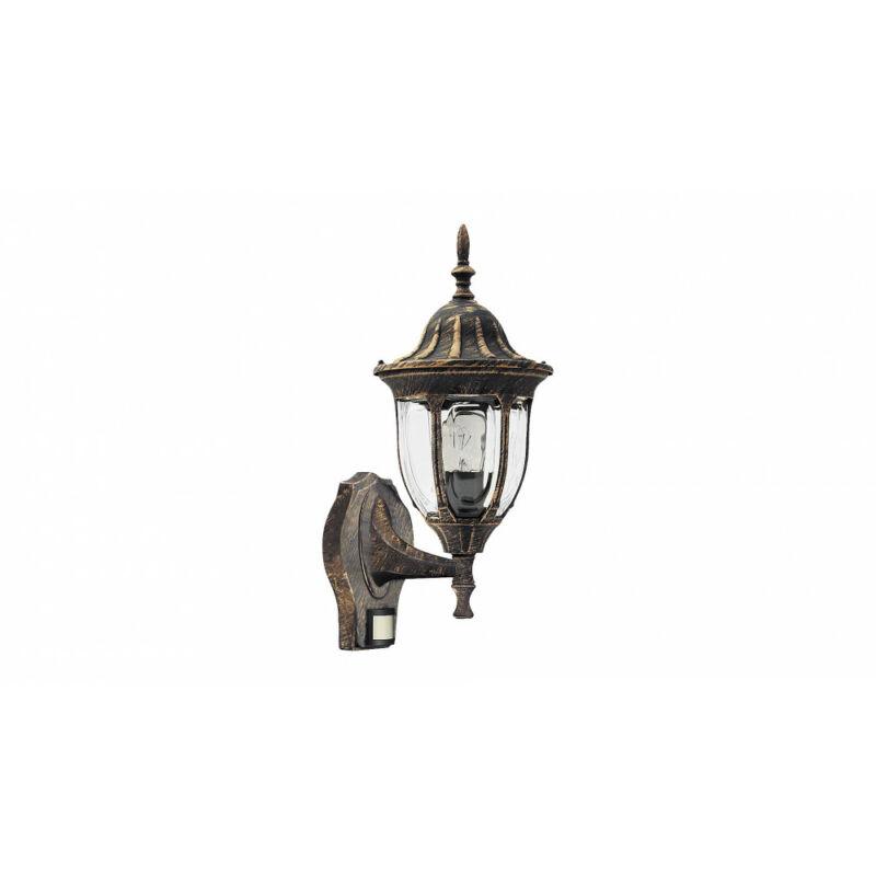 Rábalux Milano 8370 mozgásérzékelős fali lámpa antik arany fém E27 1x MAX 60 E27 1 db IP43