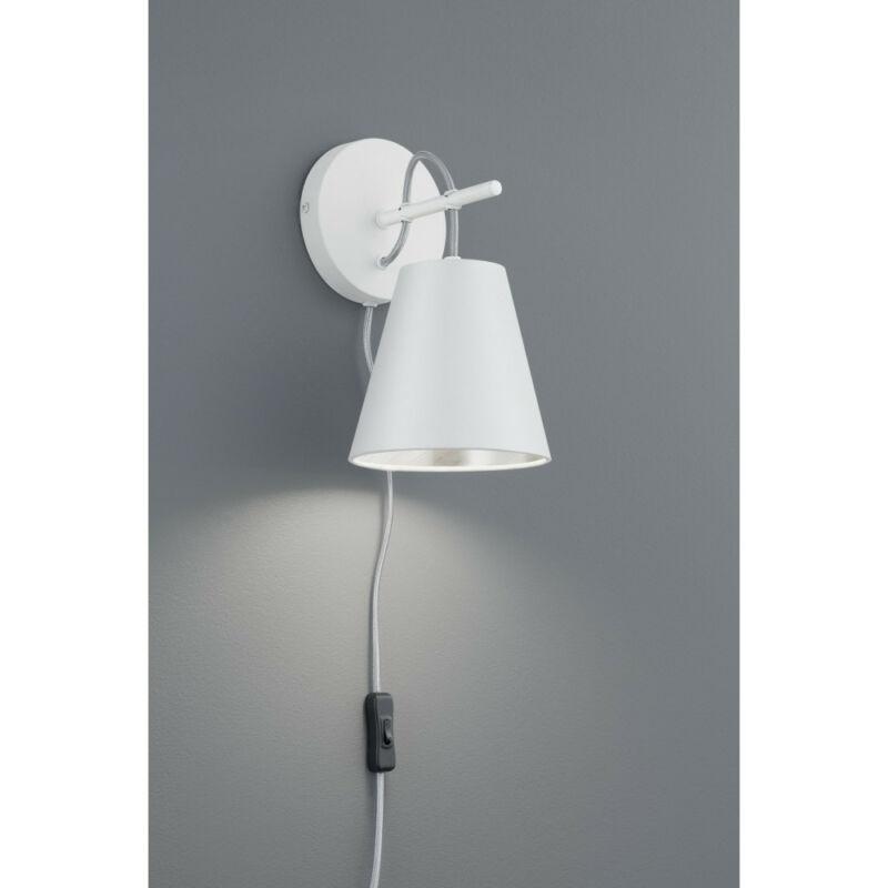 Trio ANDREUS 207500189 fali lámpa kapcsolóval matt fehér fém excl. 1 x E14, max. 40W E14 1 db IP20