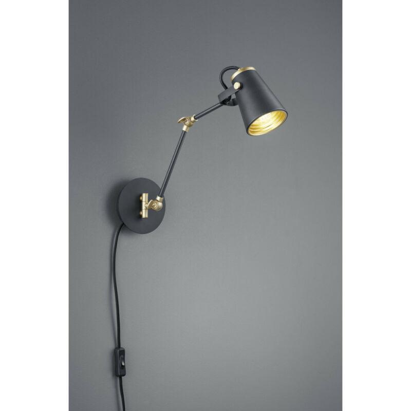 Trio Edward 208870132 fali lámpa kapcsolóval matt fekete fém excl. 1 x E14, max. 40W E14 1 db IP20