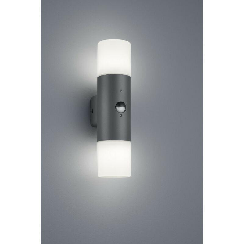 Trio HOOSIC 222260242 mozgásérzékelős fali lámpa antracit fröccsöntött alumínium excl. 2 x E27, max. 28W E27 2 db IP44